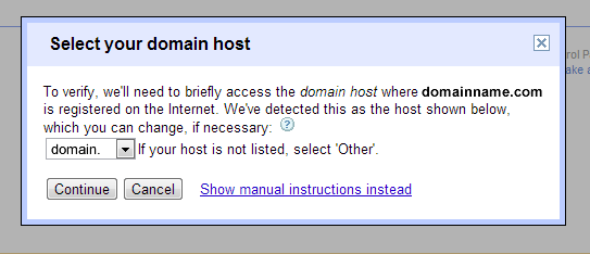 g suite select domain host